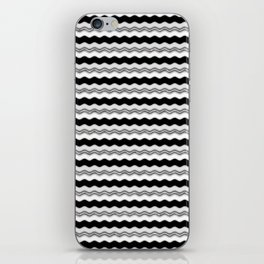 Silver Black and White Wiggly Line Pattern iPhone Skin