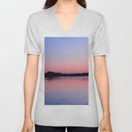 Bright Sun Setting In The Horizon  Unisex V-Neck