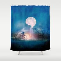 sun and moon Shower Curtains featuring Moon Above, Sun Below by Viviana Gonzalez