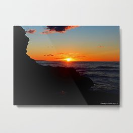 Sandstone Cliff Indian and the Sea at Sunset Metal Print