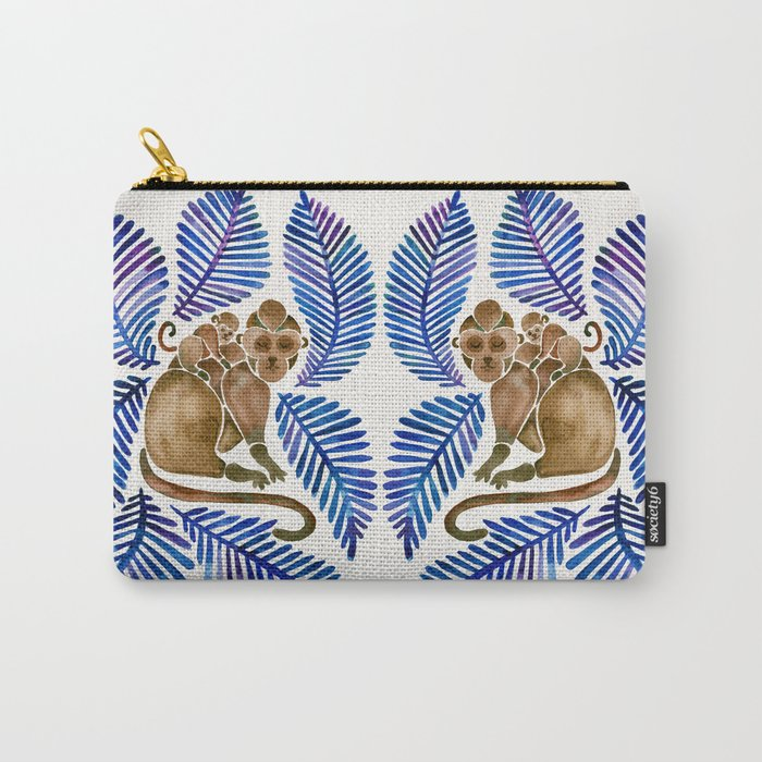 Monkey Cuddles – Navy Leaves Carry-All Pouch