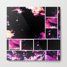 Magenta & Deep Fuschia Abstract Floral with Boxed Images Metal Print