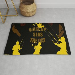 Wake Up Seas The Day Kiteboarder Brown and Yellow Rug