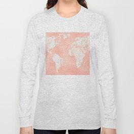 Pink Rose Gold World Map Long Sleeve T-shirt