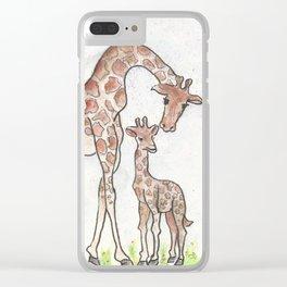 Giraffe and her Calf Clear iPhone Case