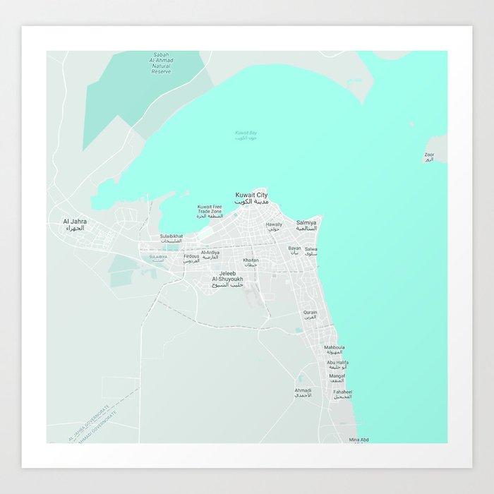 Minimalist Modern Map of kuwait City, Kuwait 10 Art Print by asarstudios