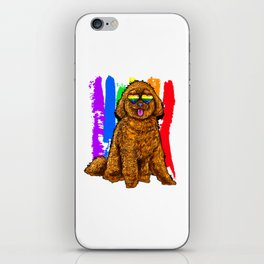 Adorable Dog With Rainbow Heart Glasses iPhone Skin