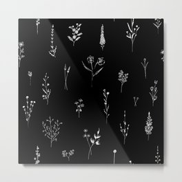 Black wildflowes Big Metal Print