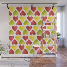 Apple colorful hearts pattern Wall Mural