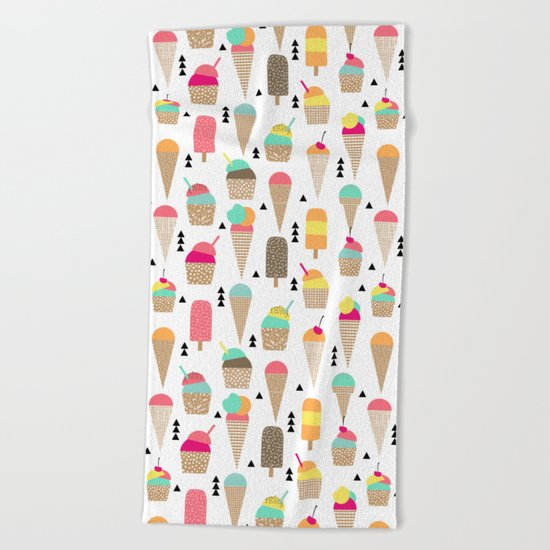 Ice Cream tropical summer spring central park new york city geometric food sweet treat dessert Beach Towel