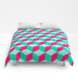 wonderful cube pattern abstract  magenta and  mint Comforters