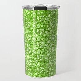 Nature Lover - green leafy pattern in heart, abstract digital art Travel Mug