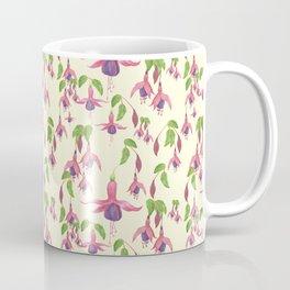 Watercolour Fuchsia Flower Pattern - Pastel Yellow Coffee Mug