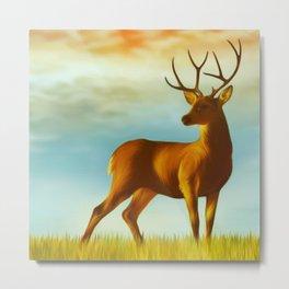 Morning Deer Metal Print