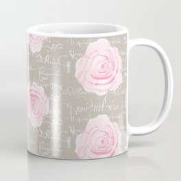 Watercolor roses on Taupe with French script Coffee Mug
