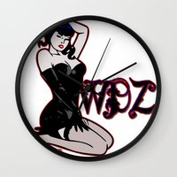 pinup Wall Clocks featuring PinUp by Mack Wisedzines Tompkins III