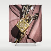 doors Shower Curtains featuring Chained doors by davehare