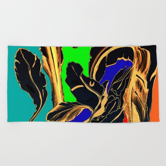 Blue Green Orange Black and Gold, Stand Up Red Beach Towel