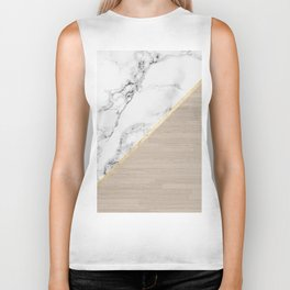 Modern white marble gold stripe wood color block Biker Tank
