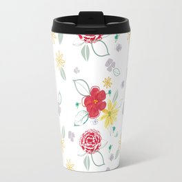 Red and Yellow Floral Travel Mug
