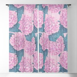 Hydrangea watercolor pattern, pink and blue Sheer Curtain