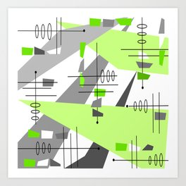 Mid-Century Modern Atomic Age Abstract Art Print