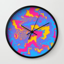 Pansexual Pride Feathered Abstract Fractals Wall Clock