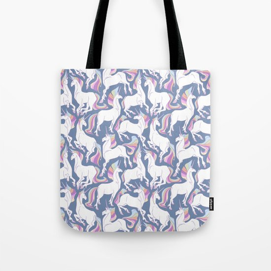 Rainbow unicorns ready for the weekend. Tote Bag