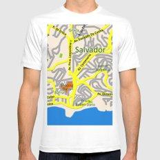 Salvador, Brasil Map Design MEDIUM White Mens Fitted Tee
