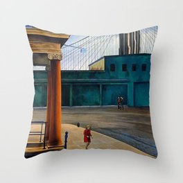 Classical Masterpiece 'South Street Sloop' by O. Louis Guglielmi Throw Pillow