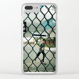 Behind a skate park fence Clear iPhone Case
