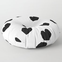 Love Yourself no.2 - black heart pattern love art black and white illustration Floor Pillow