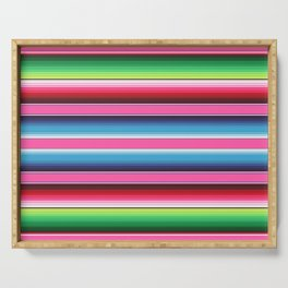 Pink Mexican Serape Blanket Stripes Serving Tray