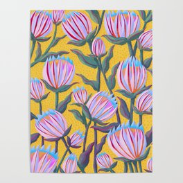 Bold Protea Flower Pattern - Pink Blue Green Purple Yellow Poster