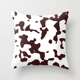Large Spots - White and Dark Sienna Brown Throw Pillow