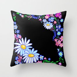 Abstract flowers frame Throw Pillow