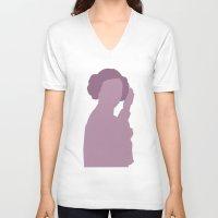 princess leia V-neck T-shirts featuring Leia by olive hue designs