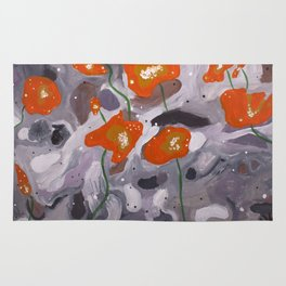 Poppies On Indian Rock Rug