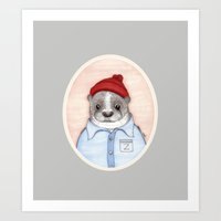 steve zissou Art Prints featuring Steve Zissou by Indi Maverick