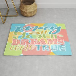 Festive Typography Print on Colorful Transparent Circles Background with Dream Quote Rug