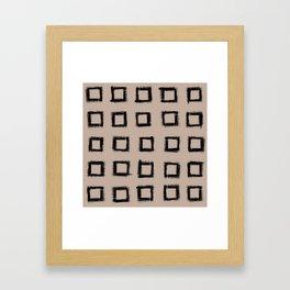 Square Stroke Dots Black on Nude Framed Art Print