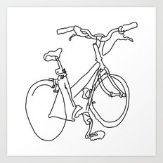 Blind Contour Bicycle Art Print