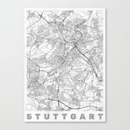 Stuttgart Map Line Canvas Print