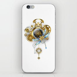 Steampunk Clock with Mechanical Dragonfly iPhone Skin
