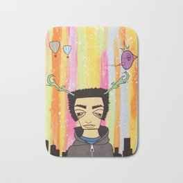 City Boy With Antlers Bath Mat