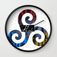 derek hale Wall Clocks featuring Hale Family by Ana Sánchez