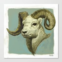 ram Canvas Prints featuring Ram by Merz