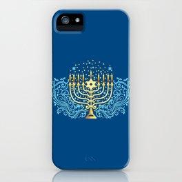 Golden menorah Hanukkah greeting festival of lights decoration  iPhone Case