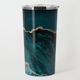 Teal Blue Emerald Marble Landscapes Travel Mug