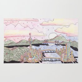 Seattle Black Ink & Colored Pencil Rug
